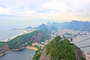 View from the top of Sugar Loaf back towards copacabana Beach