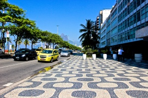 """Portuguese"" sidewalks in front of our hotel on Ipanema Beach."