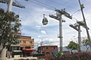 The teleferico (cable car) line connecting the Santo Domingo neighborhood with the downtown