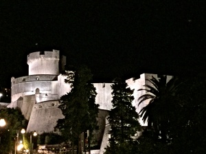 The old town fortress by night