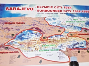 Map of besieged Sarajevo-red areas are Bosnian troop positions